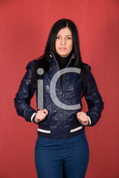 Royalty Free Photo of a Woman in a Leather Jacket