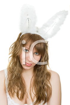 Royalty Free Photo of a Woman Wearing Bunny Ears