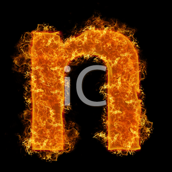 Fire small letter N on a black background