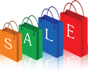 Vector illustration of red, green, blue and orange sale shopping bags.