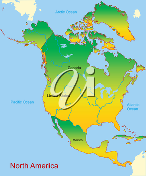 Royalty Free Clipart Image of North America