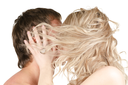 Kissing man and woman - lovers closeup portraits