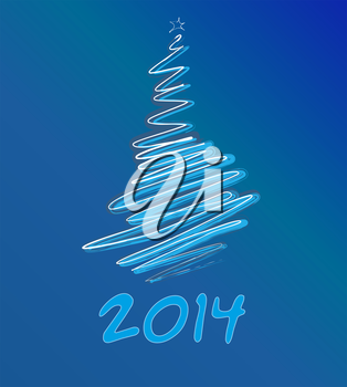 Royalty Free Clipart Image of a 2014 Background With a Tree