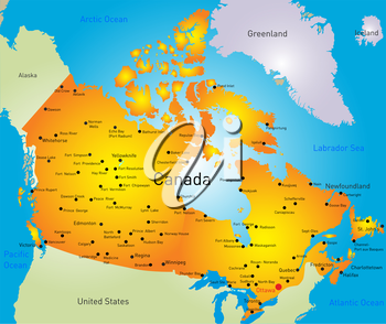 Royalty Free Clipart Image of a Map of Canada