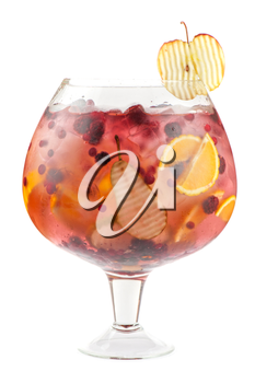 Big cocktail with different fresh berries and fruits