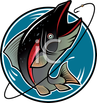 Royalty Free Clipart Image of a Fishing Design
