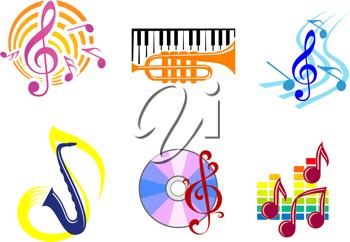 Set of musical symbols, emblems and icons