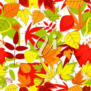 Autumnal seamless pattern with yellow, red, green and red leaves