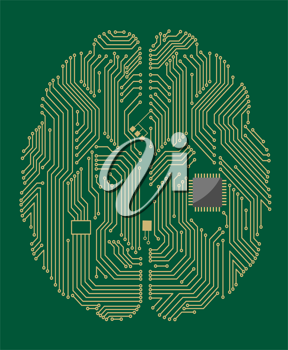 Motherboard brain on green background for technology concept