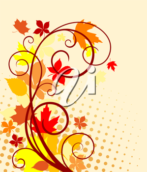 Autumnal background with red, yellow and orange leaves for seasonal design