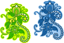 Abstract floral pattern with embellishments and elements in green and blue colors