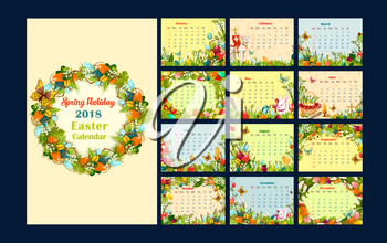 Easter monthly calendar template. Year calendar with Easter egg and flower wreath, egg hunt rabbit bunny, basket, chicken, floral frame of lily and grass, lamb of God, cross and candle cartoon poster