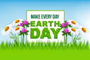 Earth Day floral cartoon poster. Green grass letters in square frame on spring meadow with flowers of daisy, clover and blue sky for save earth banner, ecology and nature protection themes design