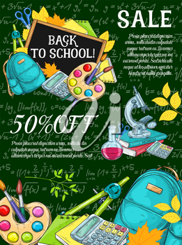 Back to school sale poster with education item chalk sketches on school blackboard. Student book, pencil and paint, scissors, calculator and globe with discount offer layout for shopping design