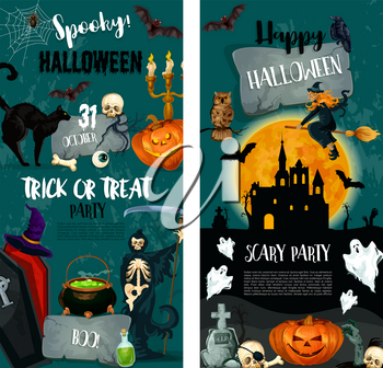 Halloween night spooky party and trick or treat holiday invitation template. Halloween pumpkin, horror ghost and bat, witch, spider and skull, creepy skeleton and haunted house festive banner design