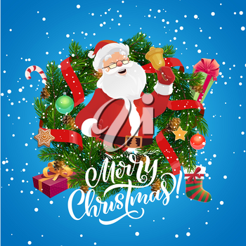 Santa with Christmas bell in frame of vector Xmas wreath. Pine and fir tree, decorated with New Year winter holidays gifts and presents, ribbons, bows and stocking, candy cane, snow and gingerbread