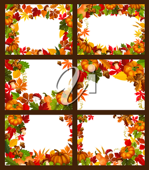 Autumn season leaf and fall nature frame poster with copy space. Autumn leaf, fall harvest pumpkin vegetable, orange maple foliage, forest mushroom and acorn branch border for greeting card design