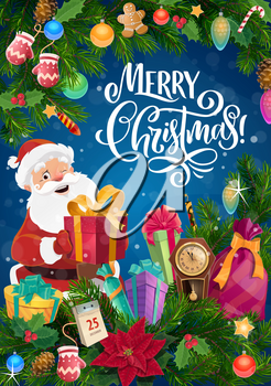Santa, Christmas gift and New Year garland vector design. Xmas presents, Claus bag, clock and calendar on pine and holly branches with ribbon bows, balls and star, gingerbread and candy, greeting card