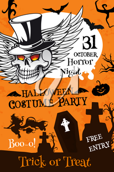 Halloween costume party poster template. Holiday night cemetery banner with pumpkin lantern, bat and witch, spooky skeleton skull with top hat and angel wings for Halloween holiday celebration design