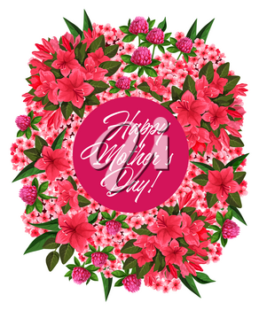 Mother Day pink flower frame for spring holiday greeting card. Floral wreath of clover, phlox and azalea flower branch with green leaf festive poster for Springtime holiday design