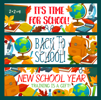 Back to School banners design template of school bag and lesson education stationery. Vector chalkboard, school book or notebook and calculator, literature book or pen and pencil on autumn maple leaf