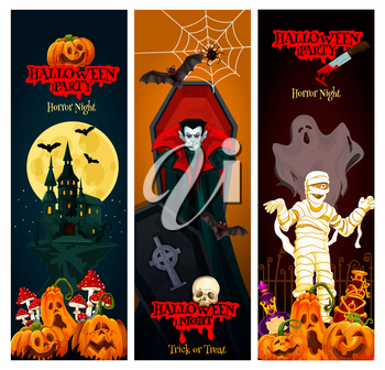 Halloween holiday horror night party banner. Spooky ghost, bat and pumpkin, haunted house, Dracula vampire with coffin and mummy, spider net and moon for Halloween celebration invitation flyer design