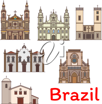 Famous travel landmark of Brazil icon set. Church and Chapel of Our Lady of the Rosary and Saint Benedict, Basilica of Our Lady of Nazareth, Bom Despacho Church and Our Lady of Grace Cathedral