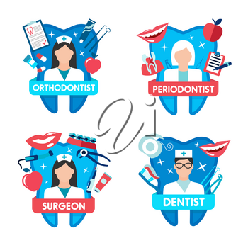 Dentistry clinic emblem with dentist, oral surgeon, orthodontist and periodontist for dental health care design. Tooth and doctor icon with floss, braces and implant, toothbrush, toothpaste and tool