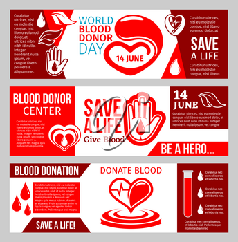 Blood Donor medical center banner set for blood donation template. Red drop of blood with heart and helping hand symbol for World Donor Day promotion flyer or health charity poster design
