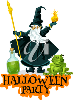Halloween party festive badge with evil wizard. Old magician in magic hat with witch potion and fireball for autumn horror holiday celebration greeting card design