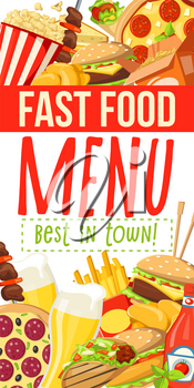 Fast food menu of fastfood meals and snacks or drinks combo for cafe, restaurant or bistro. Vector cheeseburger or hot dog sandwich and hamburger, chicken nuggets with fries or popcorn beer with kebab