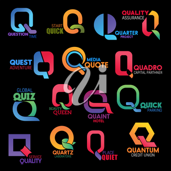 Letter Q for corporate identity or company design. Vector Q for question, quick or quarter and quality quest, queen or quantum and quartz brand name and industry