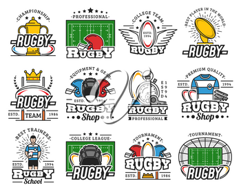 Rugby club badges, sport equipment shop and college league cup icons. Vector infographic symbols of rugby football player helmet, referee trainer stopwatch and victory wings on arena stadium