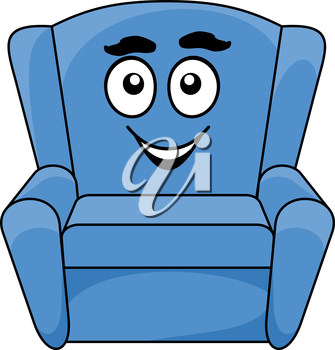 Comfortable upholstered blue armchair with a happy smiling face, cartoon illustration isolated on white