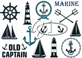 Marine heraldic elements set with anchors, lighthouse, yachts, sailboats, ropes and steering wheel
