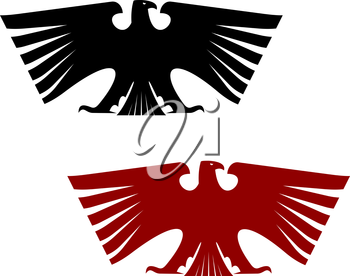 Imperial heraldic eagle with outspread wings isolated on white background. For design, such as history and heraldry