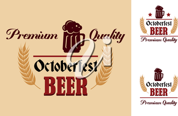 Retro beer emblem, label or insignia with an curved ear vignette and the text Premium Quality Oktoberfest Beer. Suitable for Oktoberfest, bar, pub and restaurant menu design