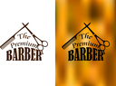 Retro barber shop icon, logo, emblem or insignia with an comb, scissors and the text The Premium Barber