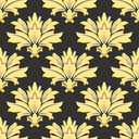 Damask yellow floral seamless retro pattern on a dark brown background for interior wallpaper and fabric design