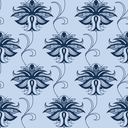 Indian paisley seamless pattern in shades of blue with elegant lace flowers decorated swirls suited for oriental style fabric design