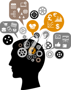 Silhouette of businessman head thinking about business process with gears and speech bubbles around him depicting meeting, agreements, presentation, finance pictograms