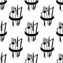 Black and white seamless pattern with restaurant forks and knives on the napkins with blank ribbon banner for menu or recipe book design