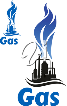 Black silhouette of industrial plant with flare stack and high blue flame of natural gas, for oil industry design