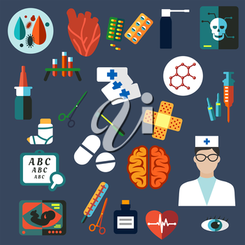 Colored flat hospital, nurse, medical, optician and healthcare icons on blue