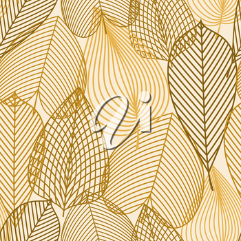 Orange, yellow and brown autumnal leaves seamless pattern with outline elements