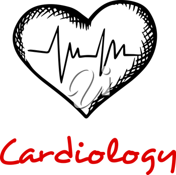 Cardiology concept with sketches of heart and heartbeat cardiogram graph isolated on white background with caption Cardiology