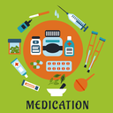 Medication flat icons with bottles, pills and capsules, encircled by surgeon, dropper with drops, ointment, sticking plaster, enema, crutches, mortar and pestle with herbs