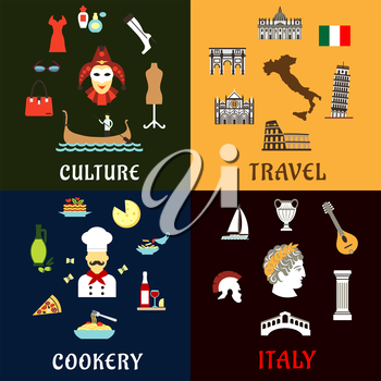 Italy travel concept with traditional symbols of italian architecture, history, culture and cuisine. Flat icons