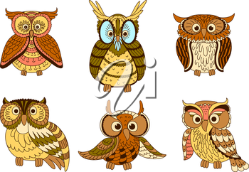 Cute cartoon owls, owlets and eagle owl birds with ornamental feathers, decorated by strips and spots in pastel colors. Halloween mascot, education emblem, childish book design