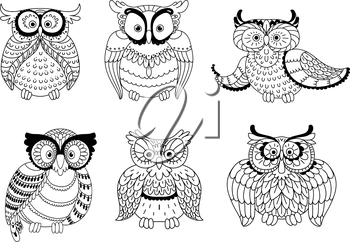 Colorless decorative owls, cute little owlets and old wise eagle owls with ornamental wings and big eyes. Childish book, Halloween or mascot usage